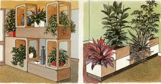 room design with plants in troughs